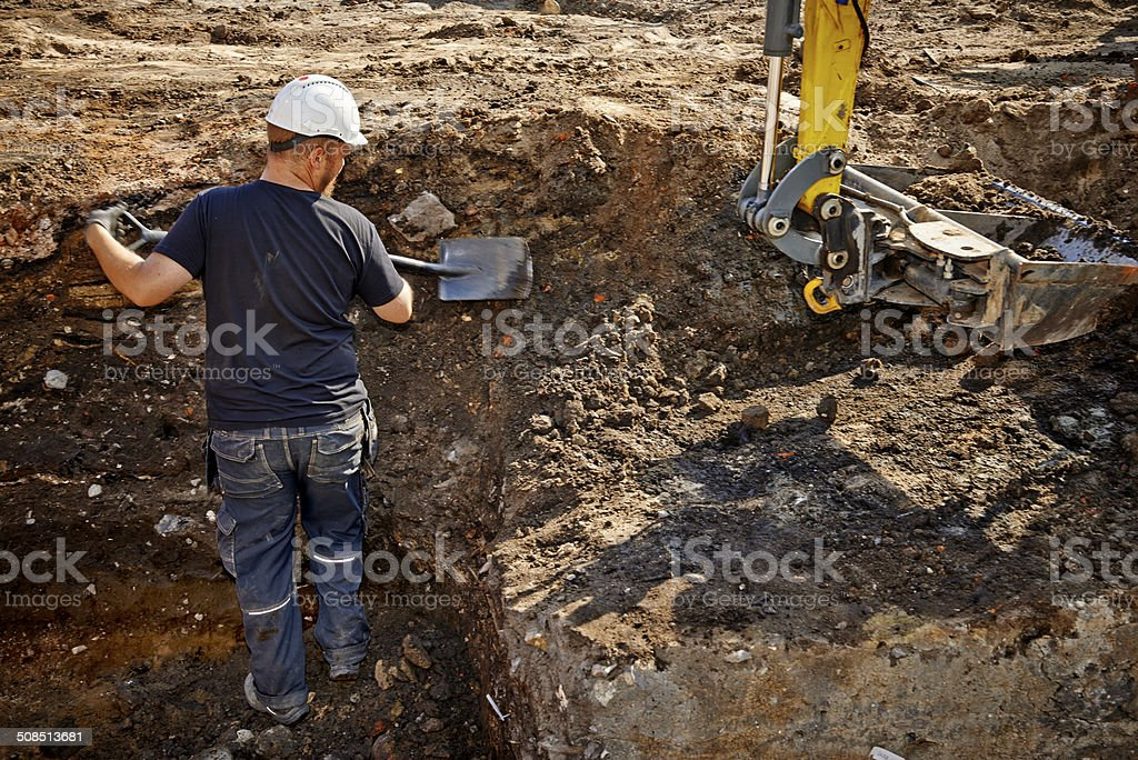 Archaeological excavations with modern labor stock photo