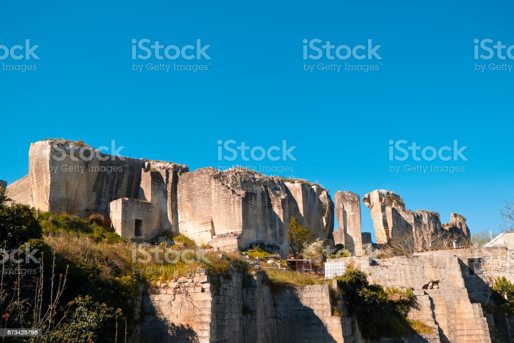 Archaeological landscape in Matera. stock photo