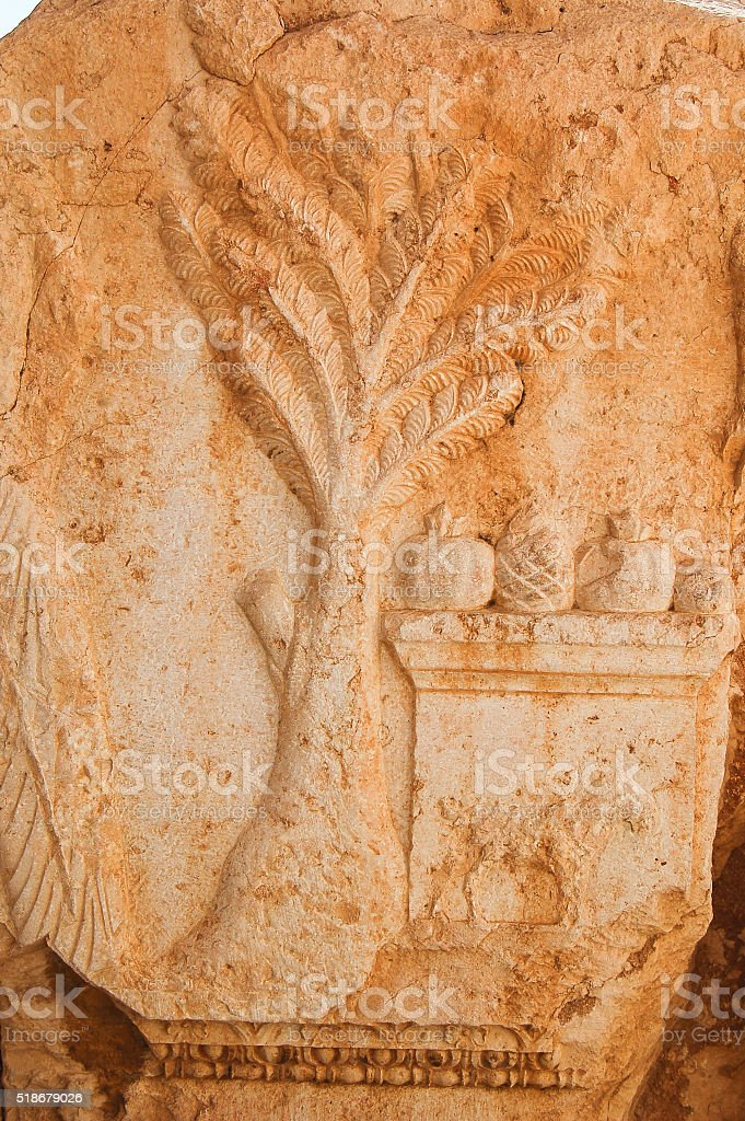 archaeological ruins of the beautiful city of Palmyra stock photo