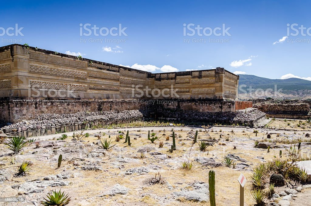 Archaeological site in Mitla stock photo