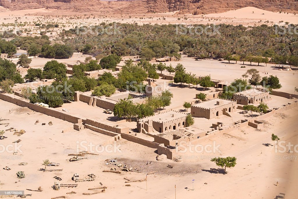 Archaeological site in the midst of a desert stock photo