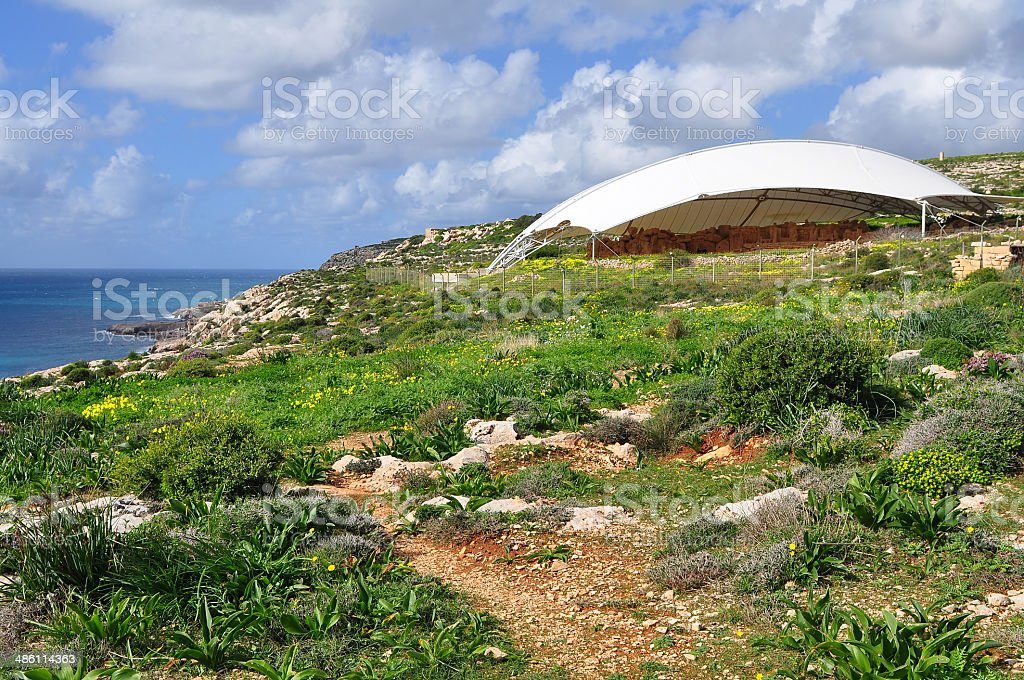 archaeological site Mnajdra on seacoast of island Malta royalty-free stock photo