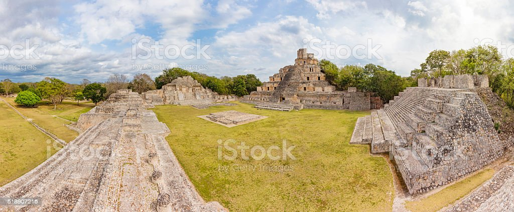 Archaeological site of Edzna , Yucatan Peninsula , Campeche , Mexico , Maya Civilization stock photo