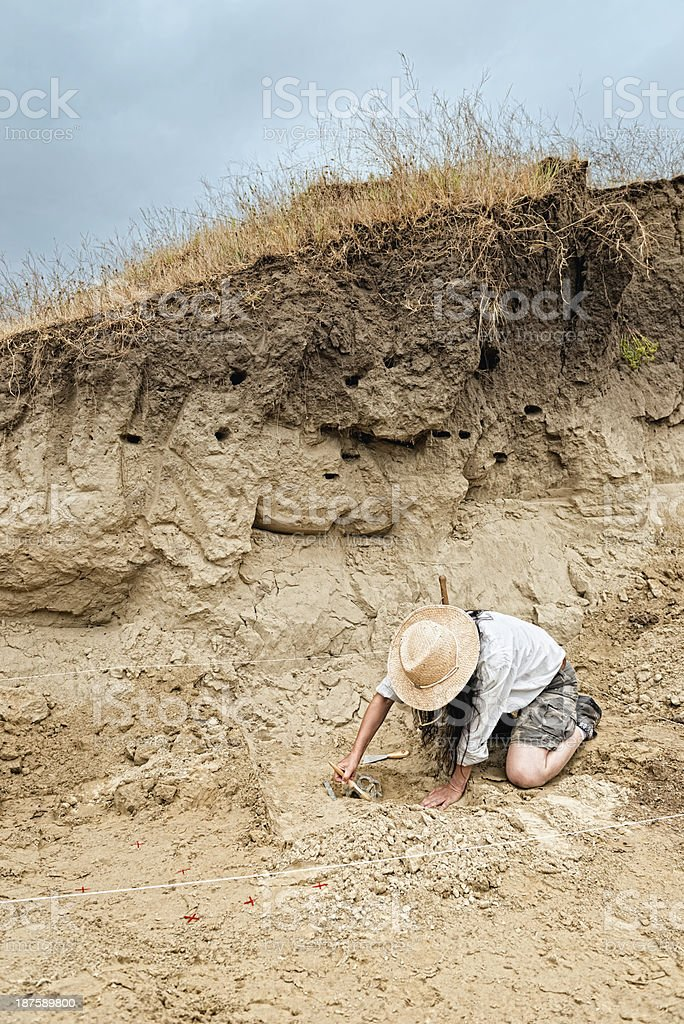 Archaeological site with archaeologist revealing human skull stock photo