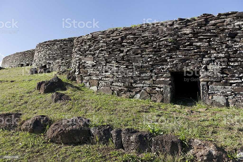 Archaeological site with houses of birdman easter Island Chile royalty-free stock photo