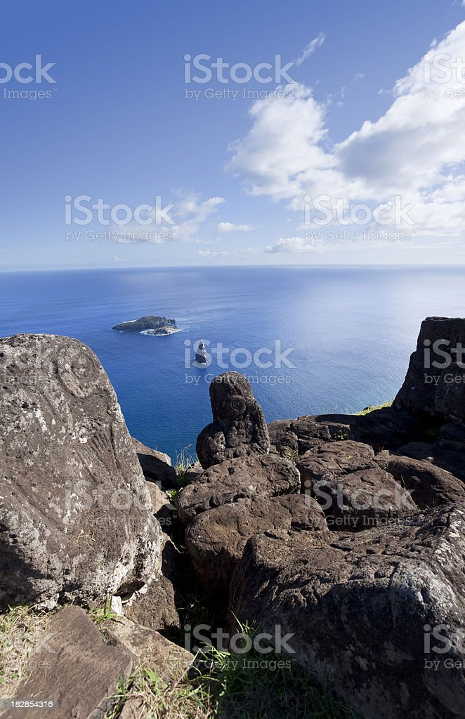 Archaeological site with petroglyph of birdman easter Island Chile royalty-free stock photo