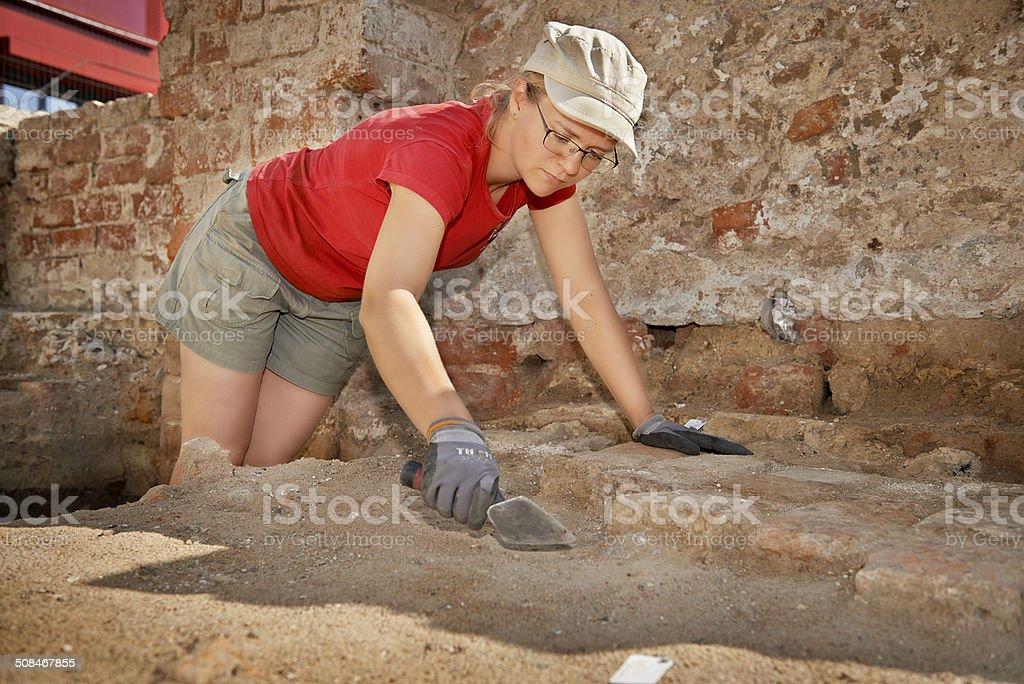 Archaeologist doing the job stock photo