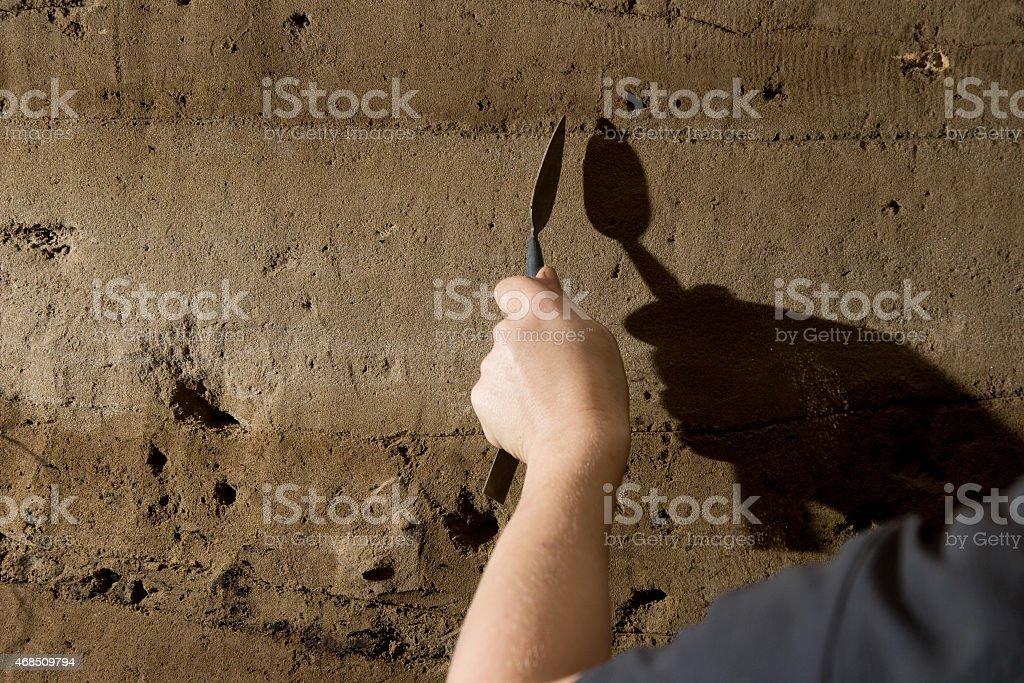 Archaeologist in Aswan rescue excavation, Egypt stock photo