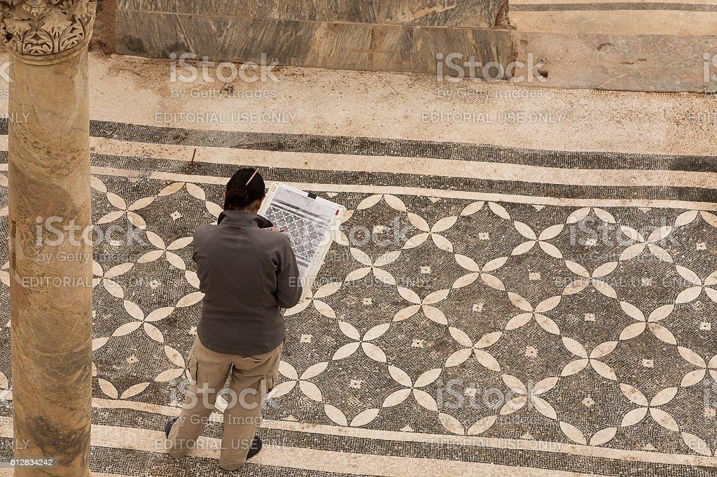 Archaeologist in the Roman Houses in Ephesus. stock photo