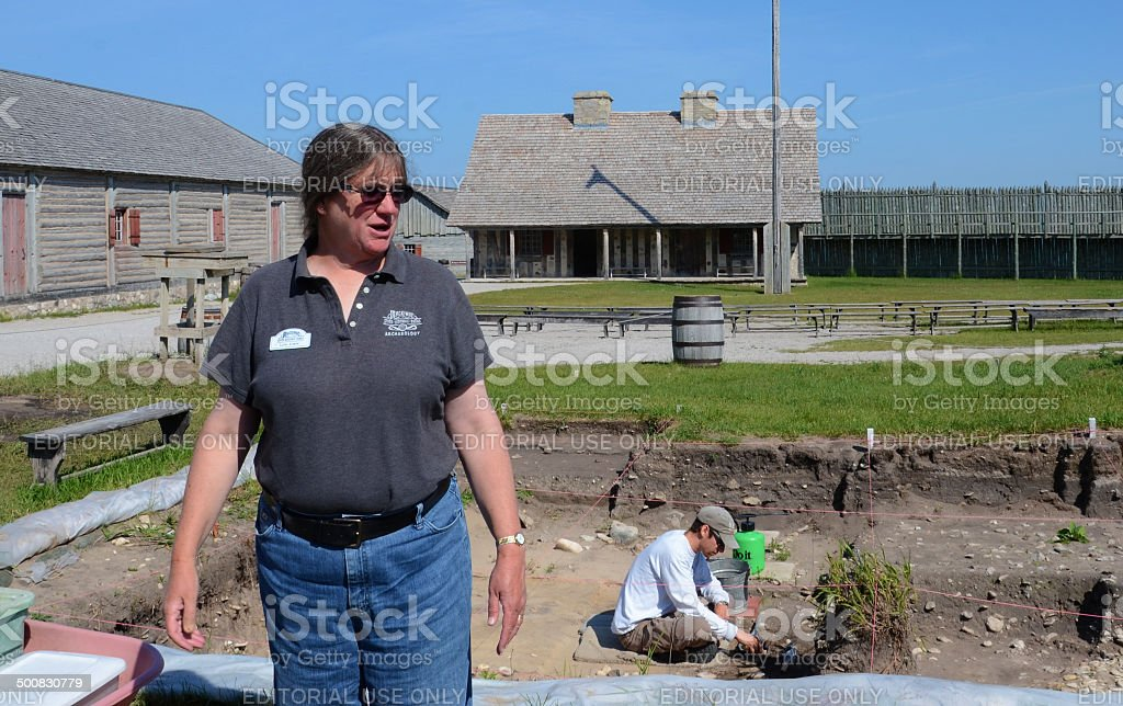 Archaeologist Lynn Evans at Fort Michilimackinac stock photo
