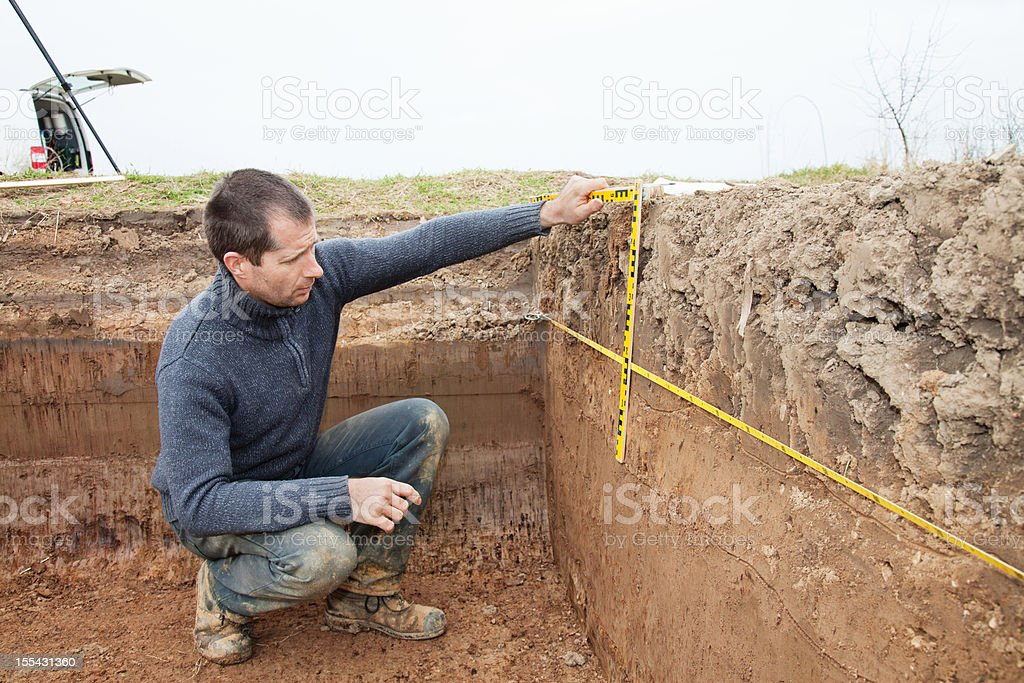 Archaeologist Using Foot Measure stock photo