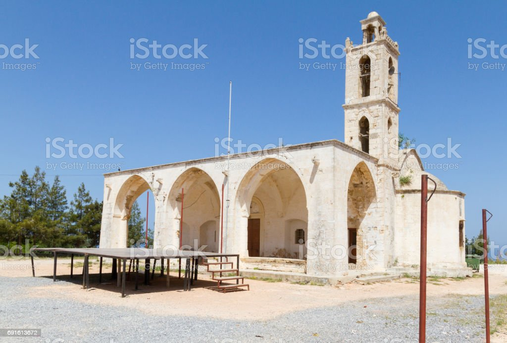 Archaggelos Michael Church in Yialousa, Karpasia, Cyprus- new church view stock photo