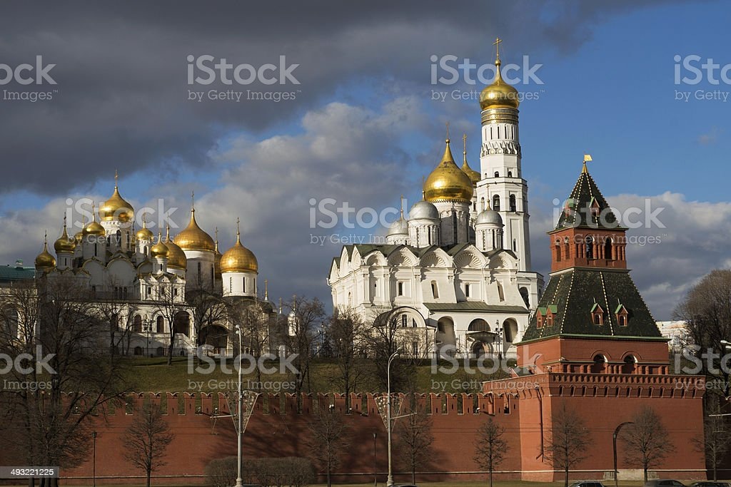 Archangel Cathedral and Ivan the Great Bell, Moscow Kremlin. stock photo