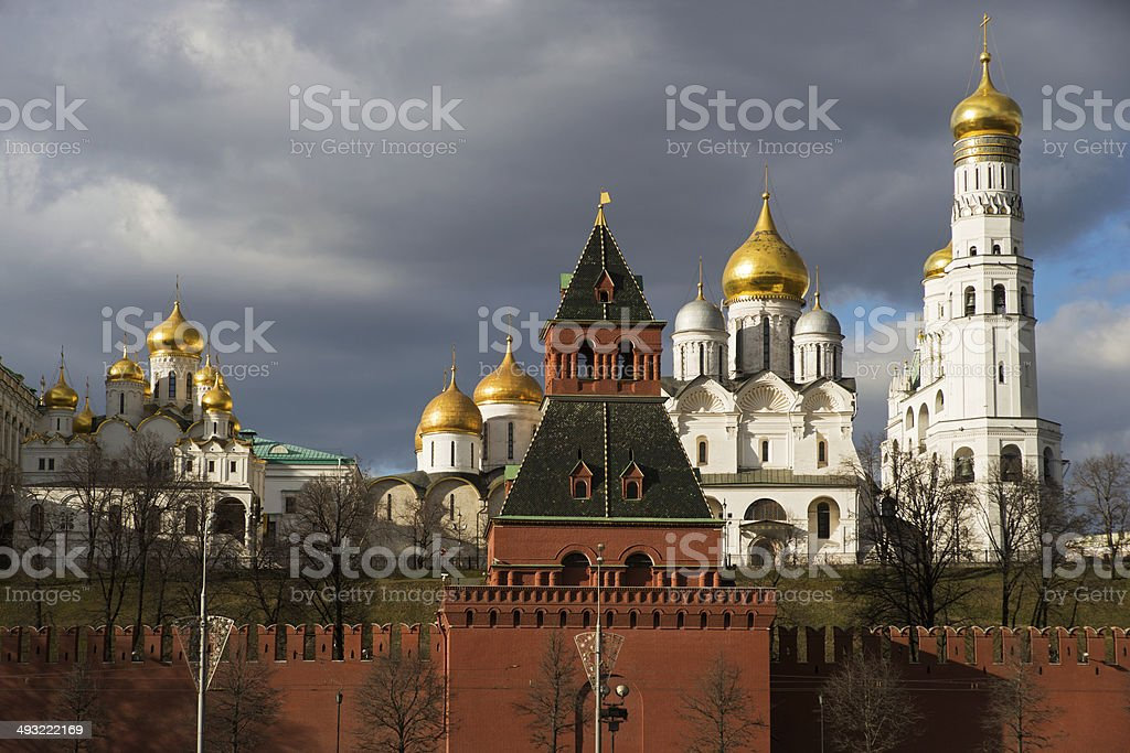 Archangel Cathedral and Ivan the Great Bell, Moscow Kremlin stock photo