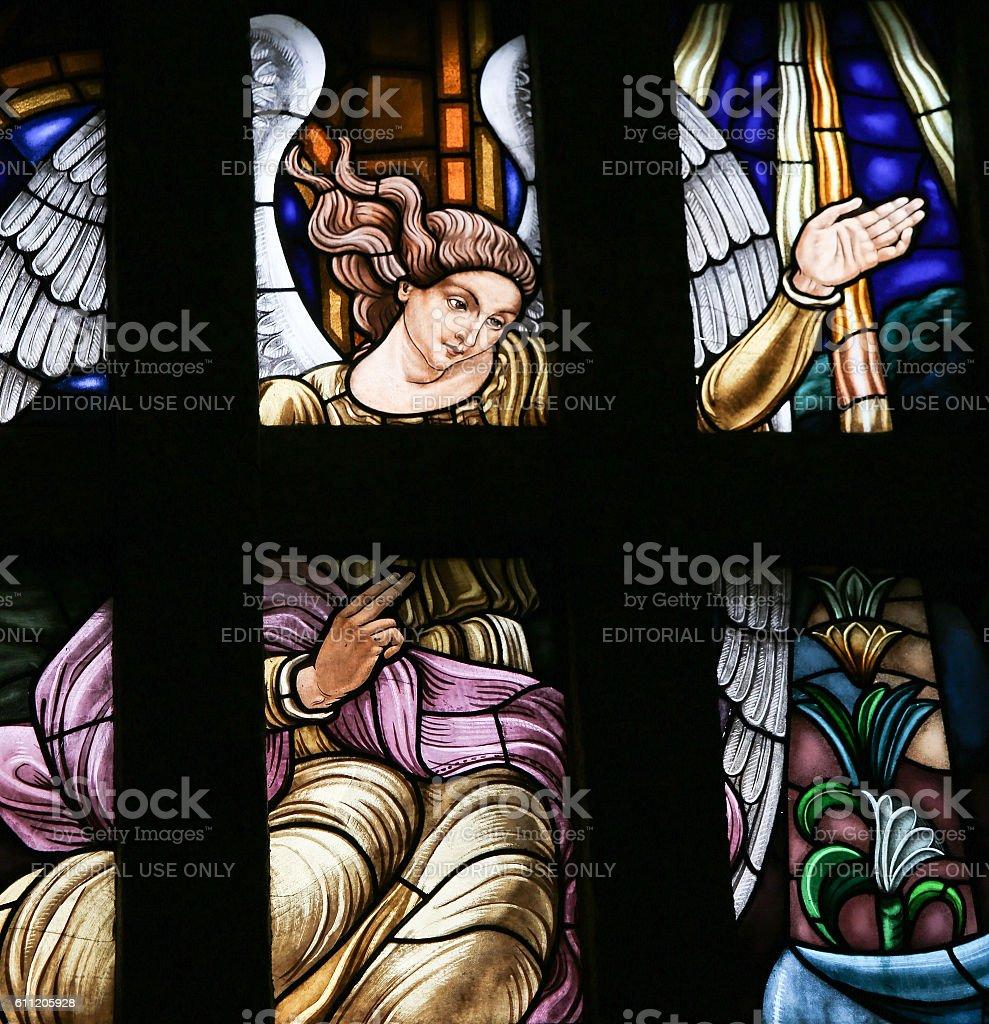 Archangel Gabriel - Stained Glass stock photo