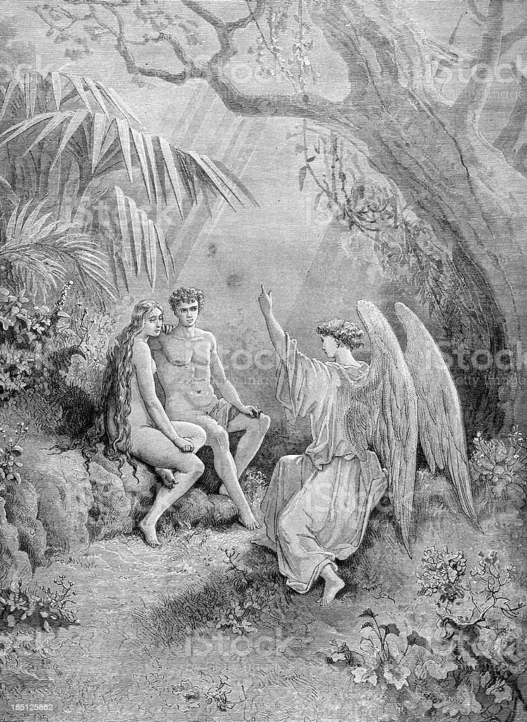 Archangel Raphael with Adam and Eve royalty-free stock photo