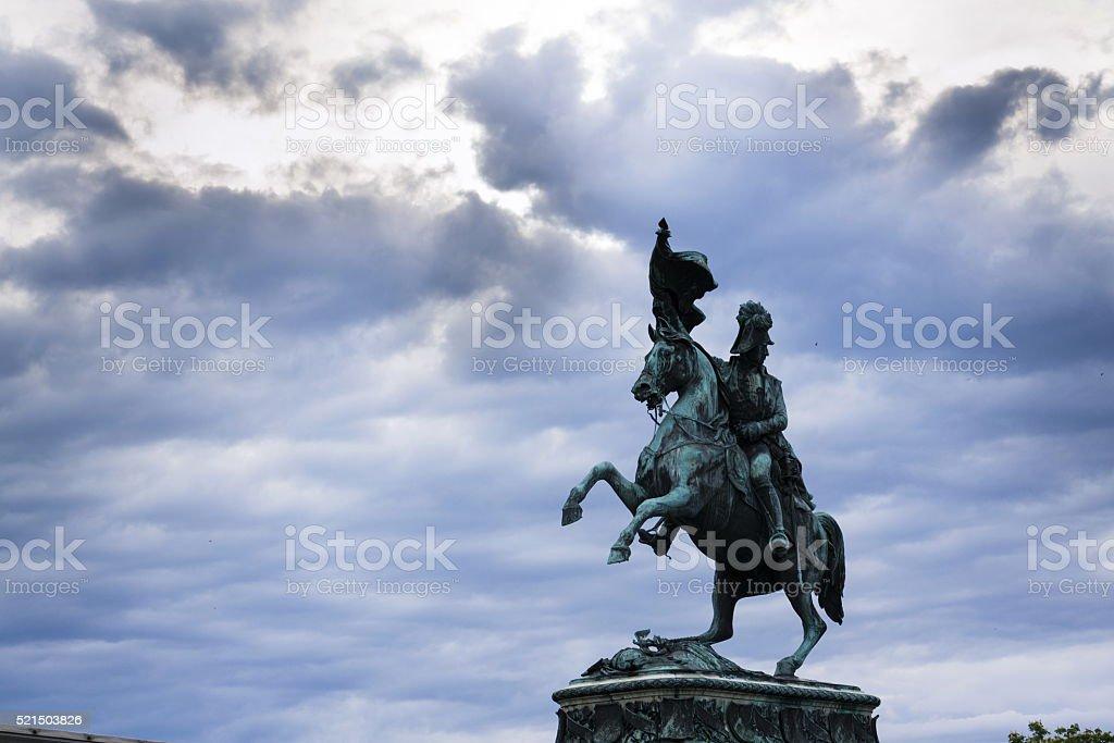 Archduke Charles of Austria statue on Heldenplatz in Vienna stock photo