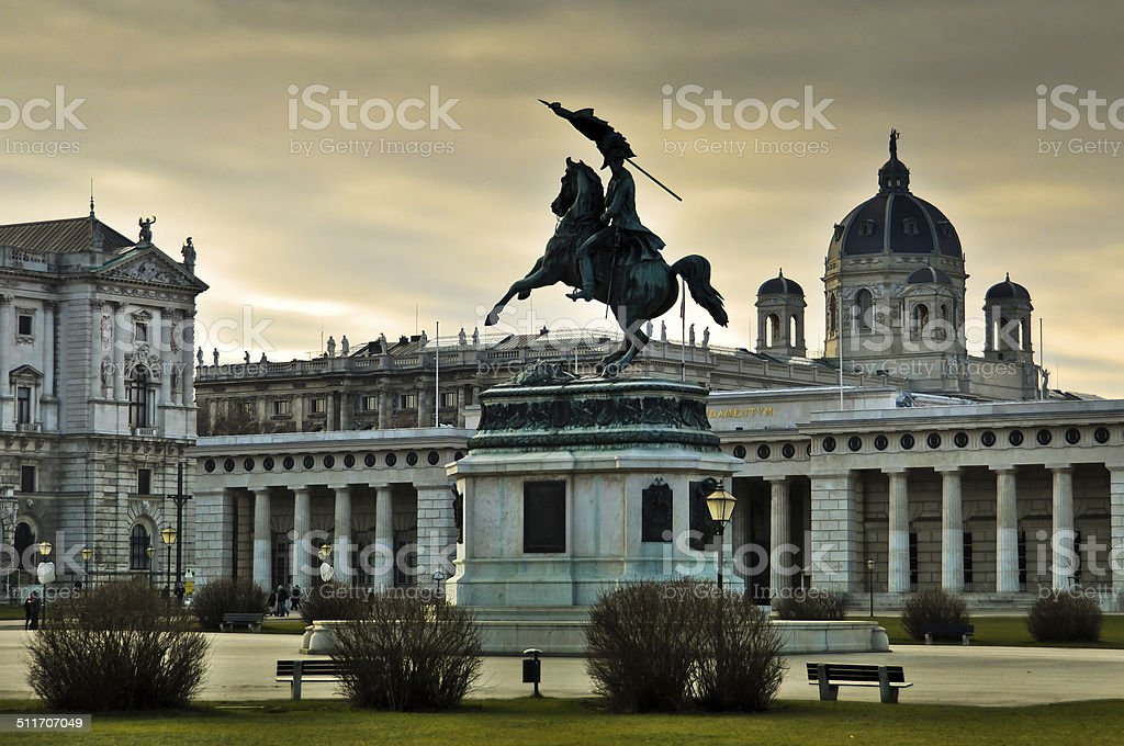 Archduke Charles Statue with Museum of Art History in Vienna stock photo