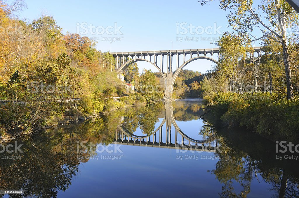 Arched bridge in autumn stock photo