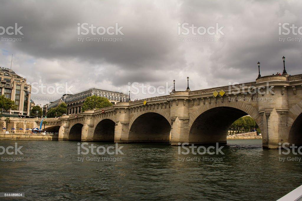 Arched Bridge over Sein River in Paris, France stock photo