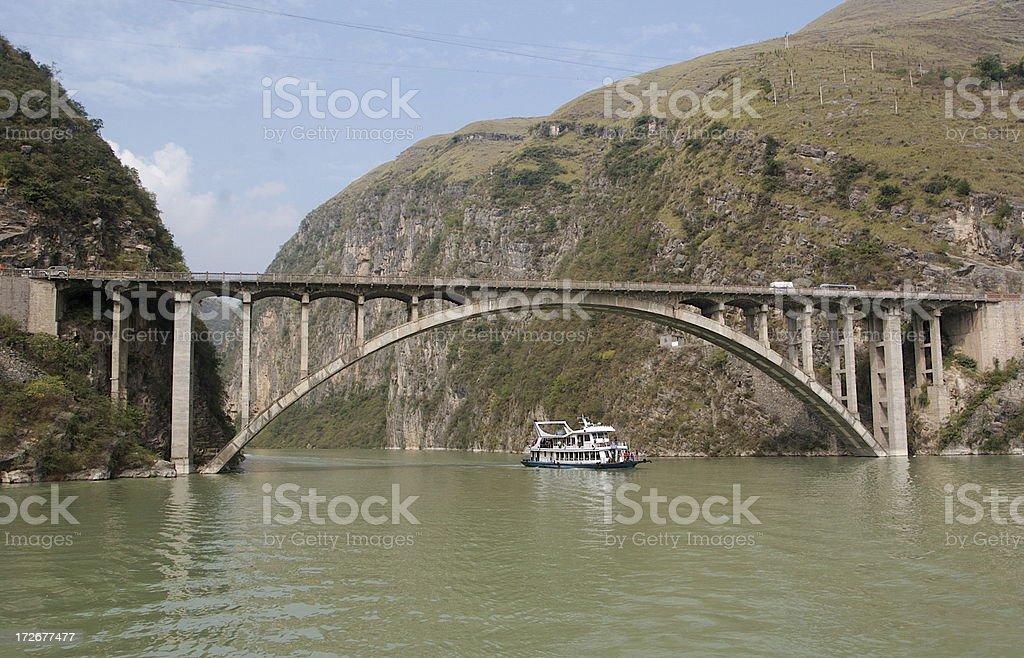 Arched Bridge Over Yangtze River in China stock photo