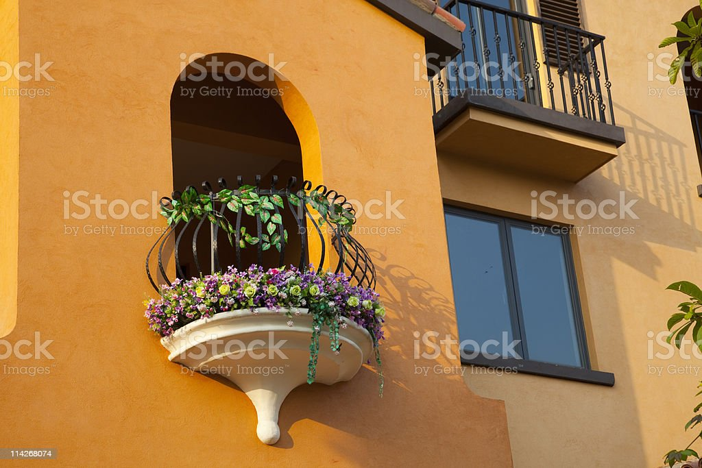 Arched door and balcony royalty-free stock photo