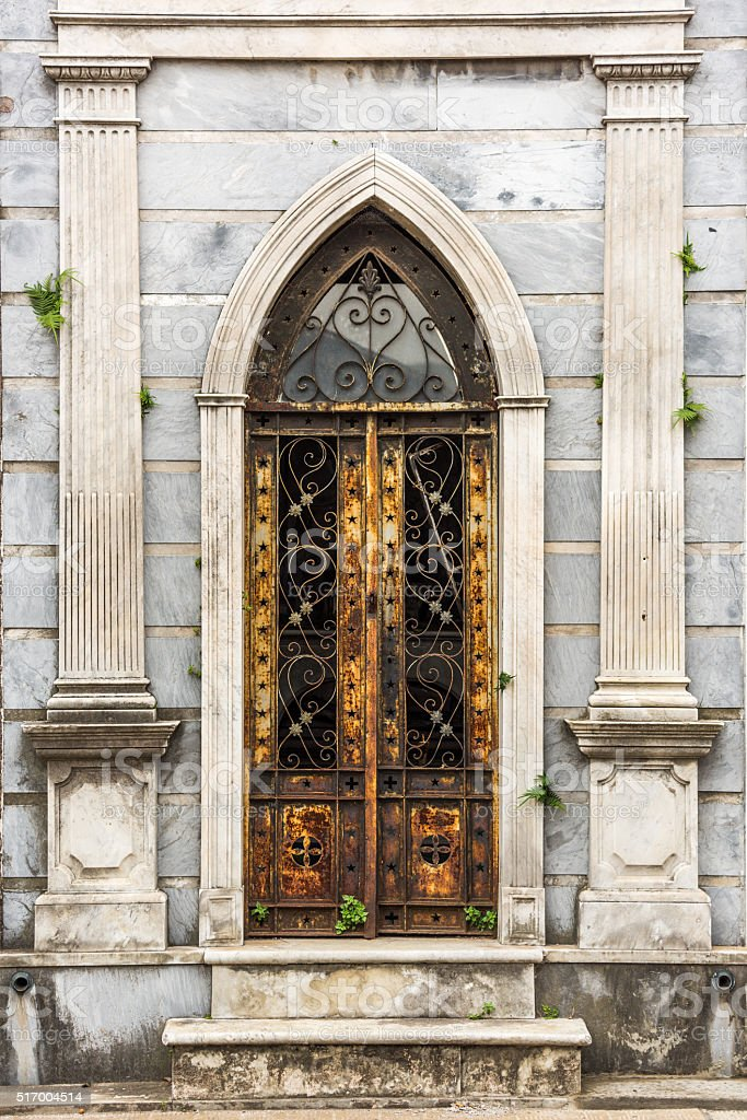 Arched doorway to tomb in Recoleta Cemetery stock photo