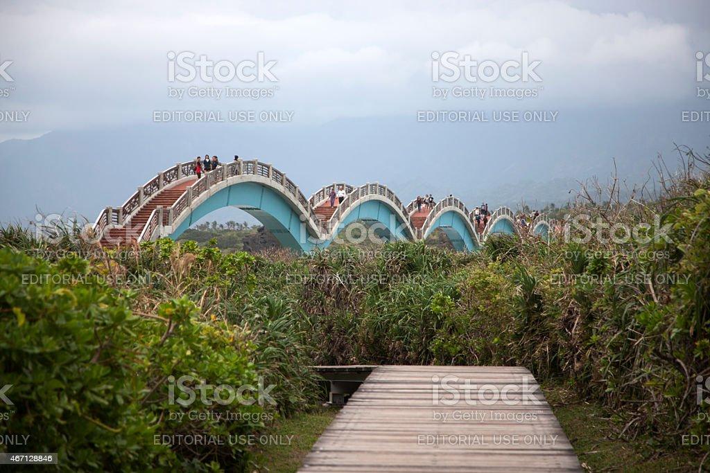 Arched Sansiantai Dragon Bridge to Sanxiantai Island, Taitung, Taiwan stock photo