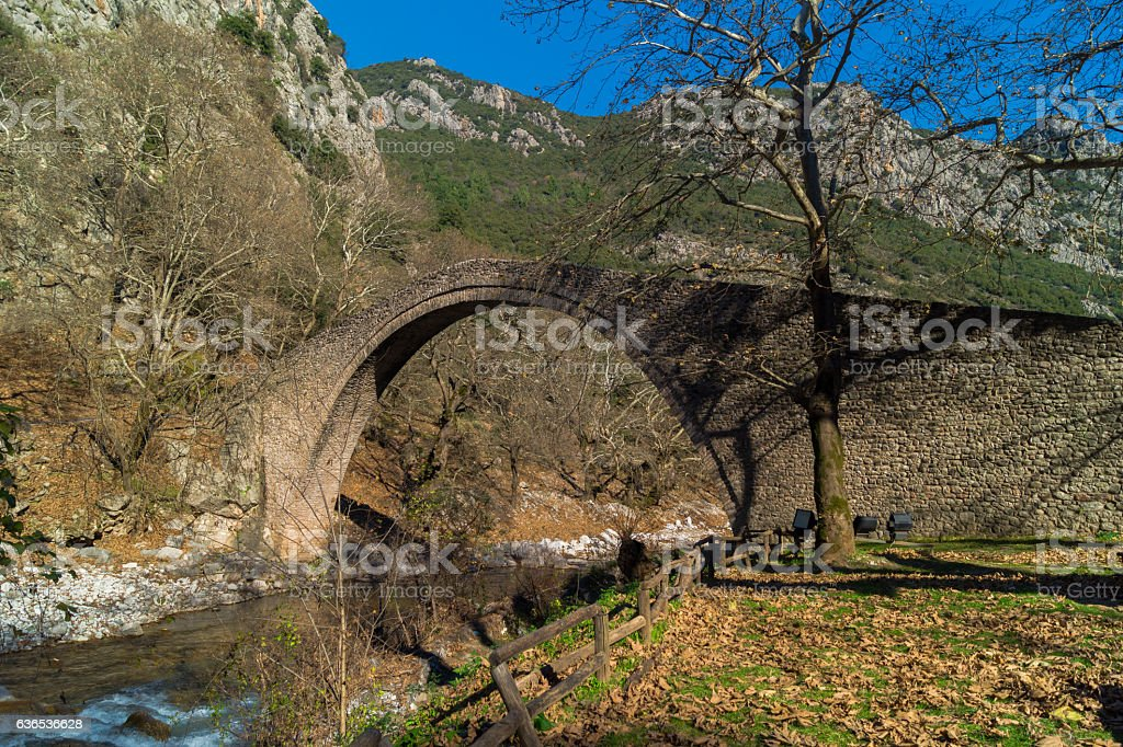 Arched stone bridge of Pyli (built 1514 AD), Thessaly, Greece stock photo