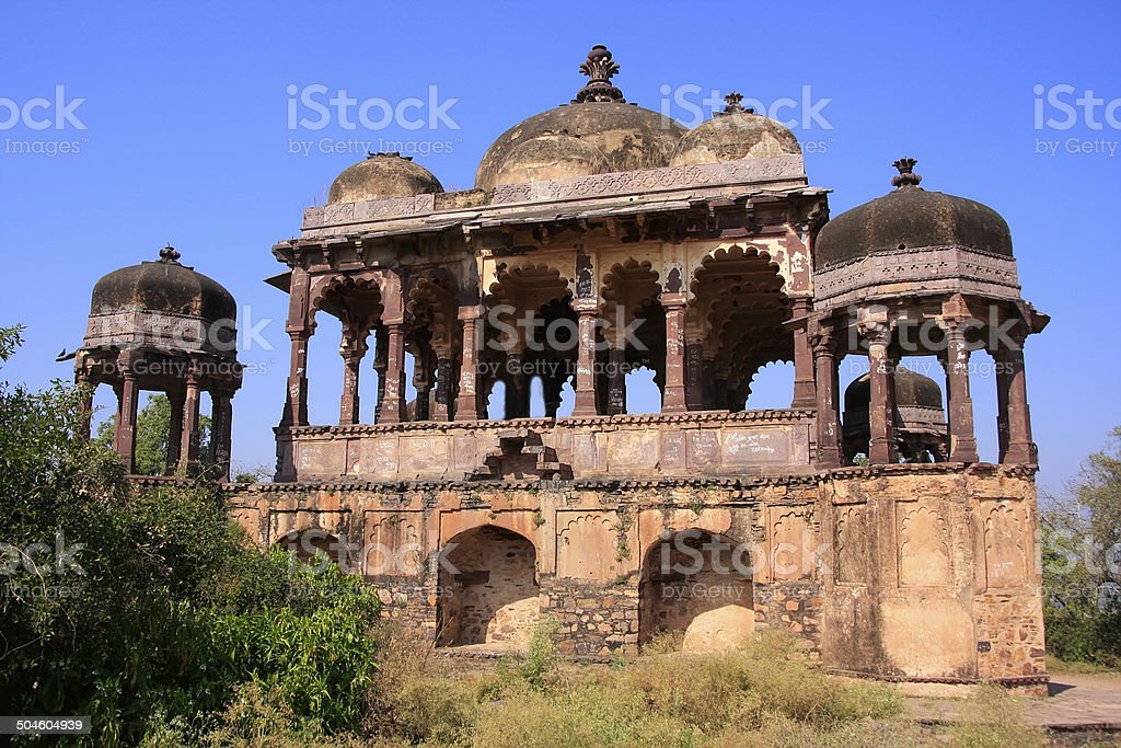 Arched temple at Ranthambore Fort, India stock photo