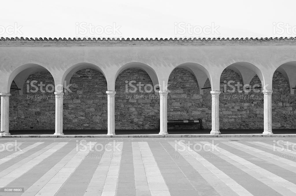 Arched Walkway to Basilica of Saint Francis in Assisi, Ita stock photo