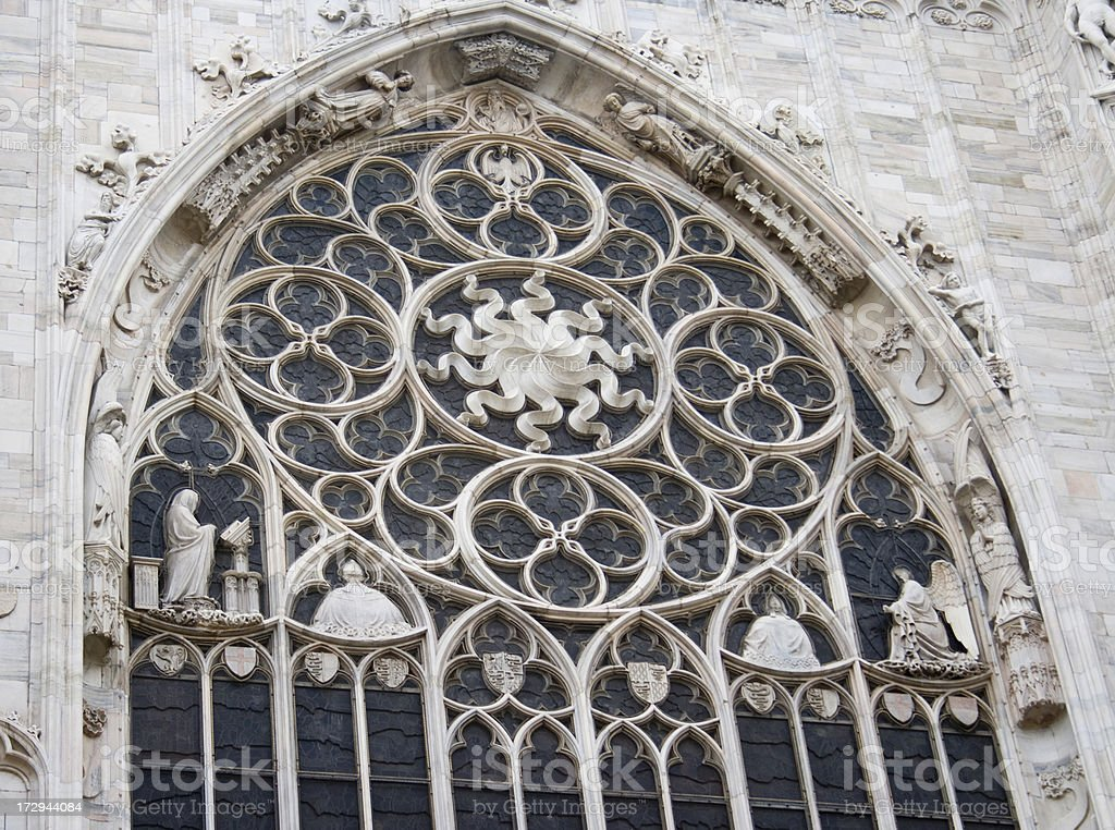 Arched Window in Domo closeup stock photo