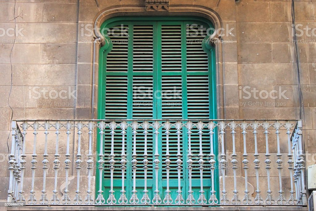 Arched window with balcony stock photo