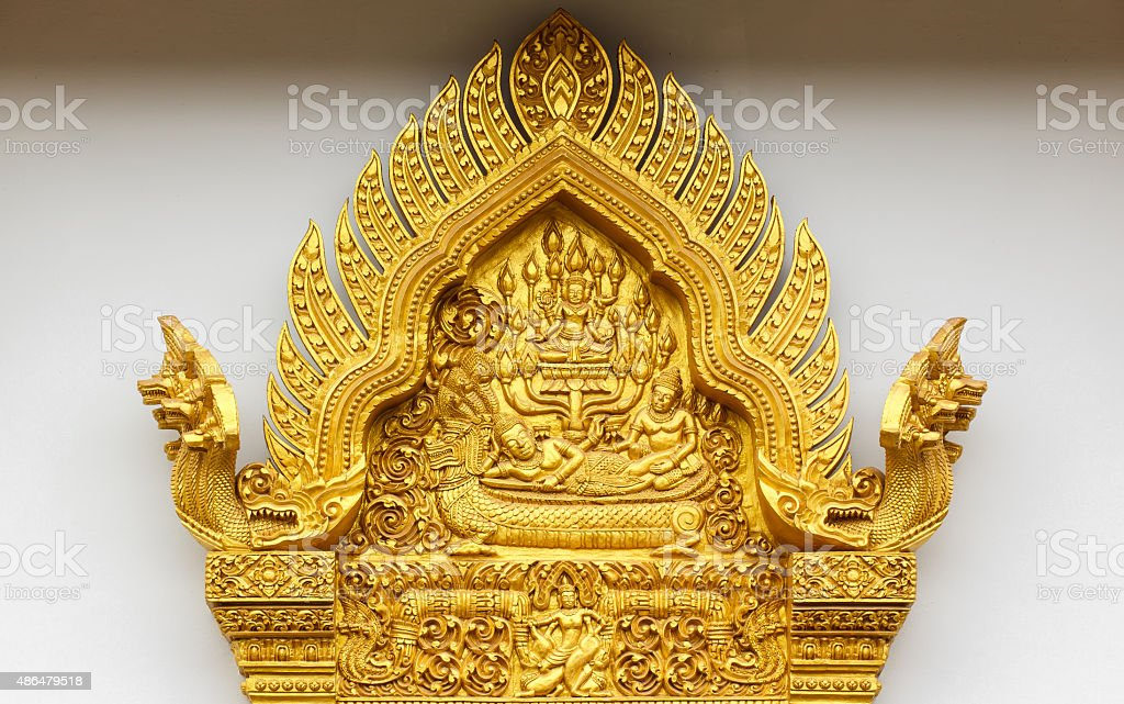 Arched windows Thai style golden stock photo