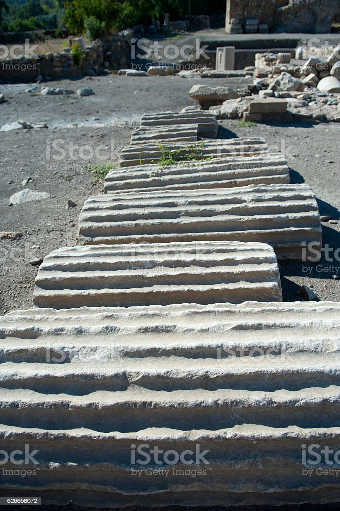 Archeological column stock photo