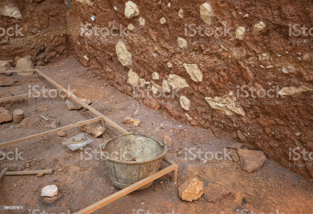 Archeological excavation stock photo
