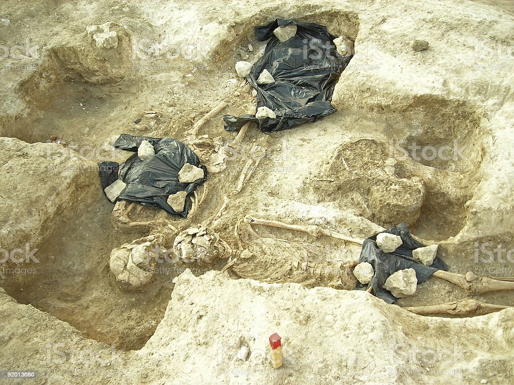 Archeological excavations - ancient burial of man and woman stock photo