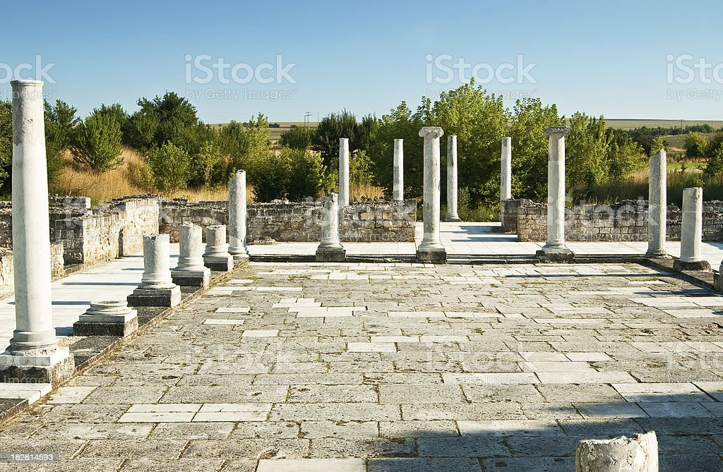 Archeological excavations - ancient roman town Abrittus stock photo