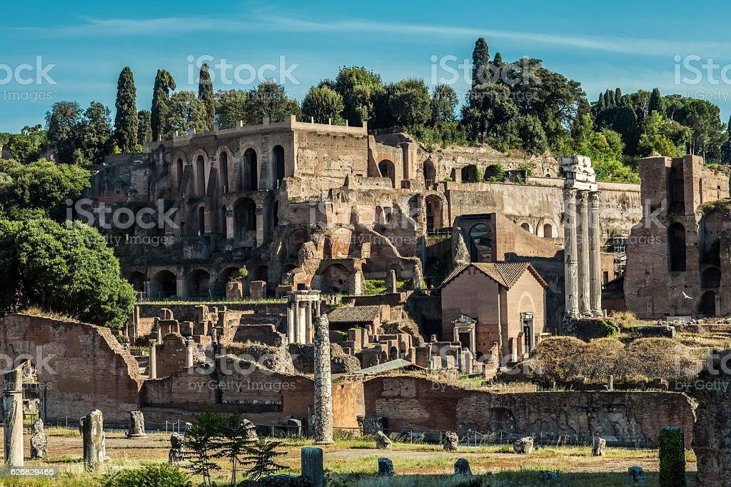 Archeological ruins in historic center in Rome, Italy stock photo