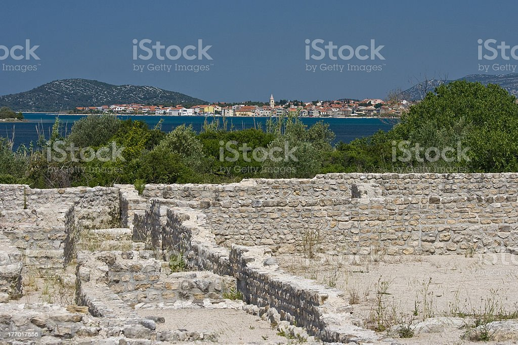 Archeological site and view to Pirovac stock photo