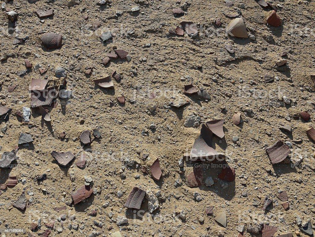 Archeological soil with crocks stock photo