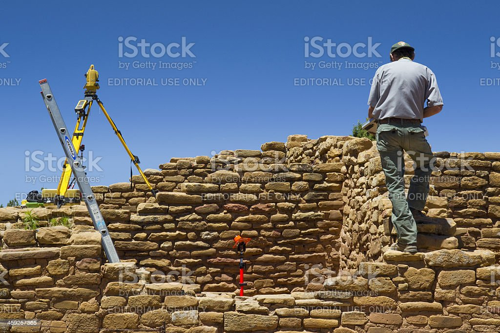 Archeological Survey at Mesa Verde National Park, Colorado stock photo