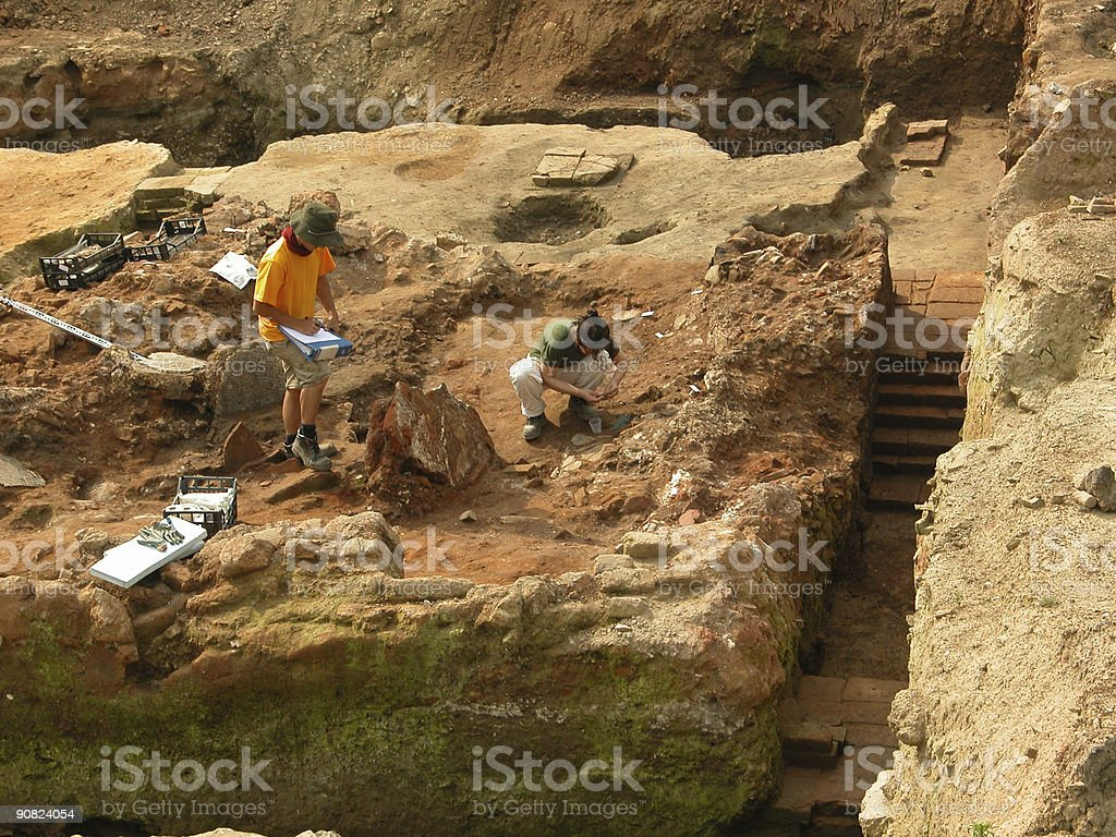 Archeologists at work II stock photo