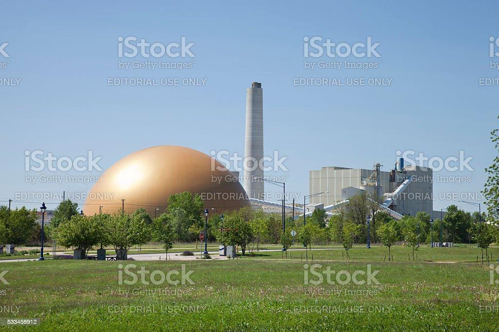 Archer Daniels Midland cogeneration power plant in Clinton, Iowa stock photo
