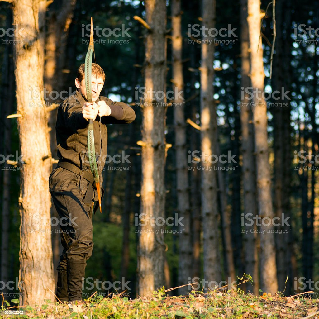 archer in forest stock photo