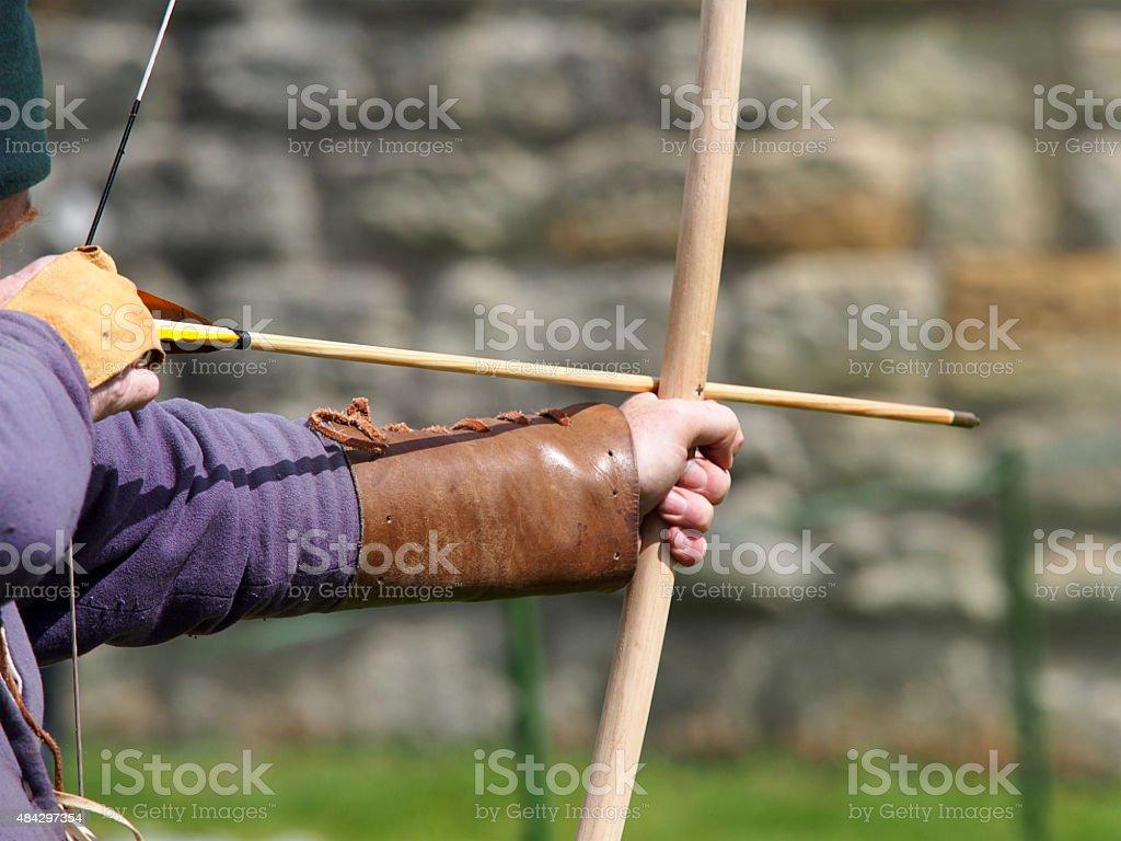 Archer with Longbow stock photo