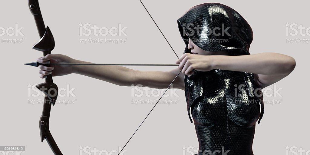 archer woman stock photo