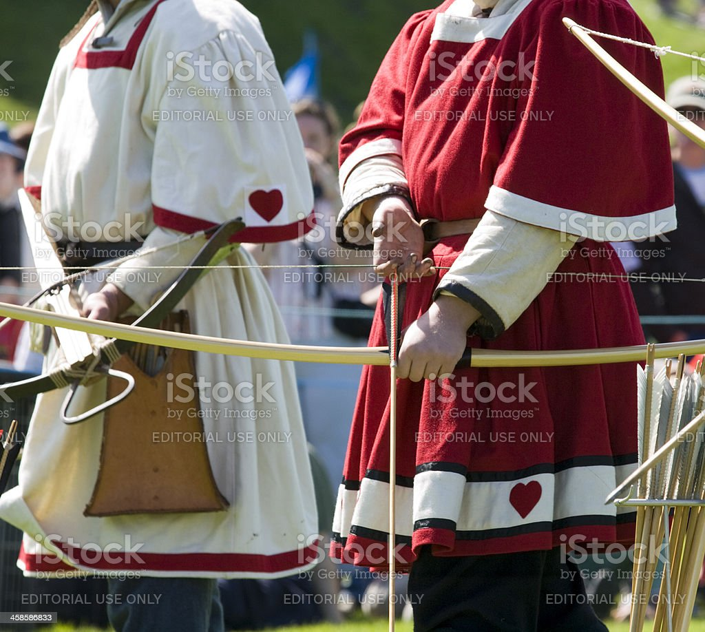 Archers at a medieval re-enactment event stock photo