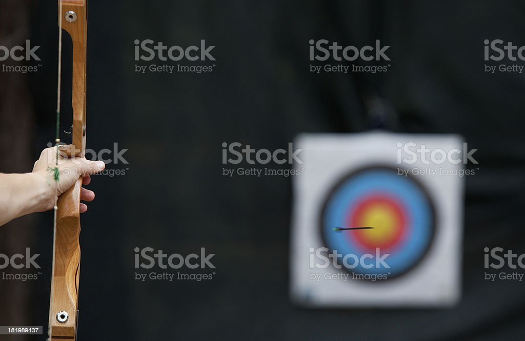 Archery, bow arrow and target stock photo