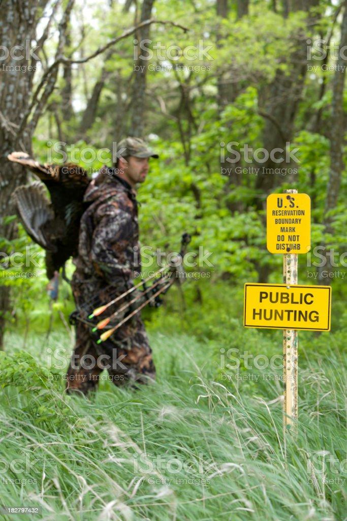 Archery hunter on public hunting land royalty-free stock photo